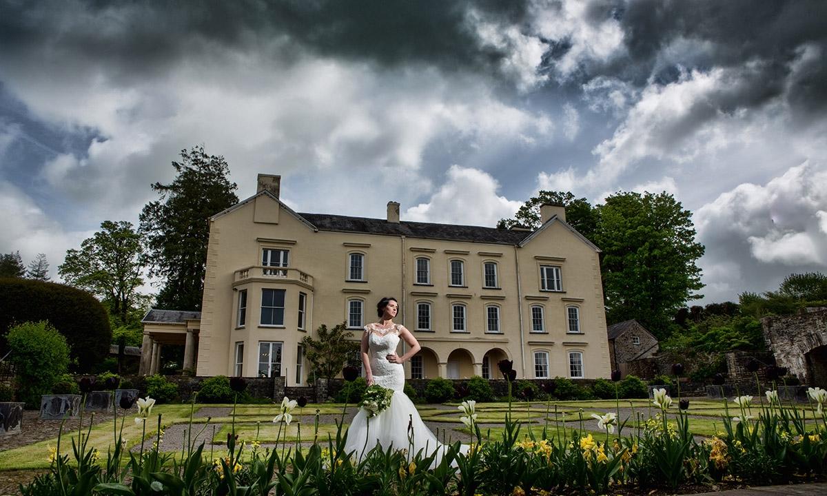 Wedding photography Aberglasney gardens. Bride in Aberglasney gardens
